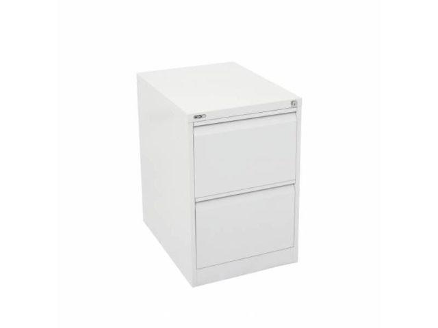 2 Drawer Steel Filing Cabinet - White