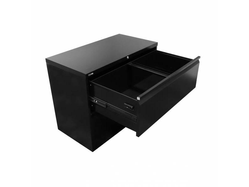 2 Drawer Lateral Filing Cabinet - Black